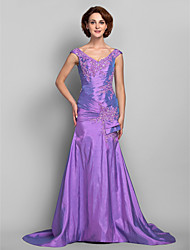 cheap -Mermaid / Trumpet V Neck Sweep / Brush Train Taffeta Dress with Beading Appliques Criss Cross by LAN TING BRIDE®