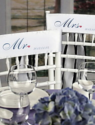 """Wedding Décor """"Mr and Mrs"""" Personalized Stain Chair Sashes(set of 2)-(More Colors)"""