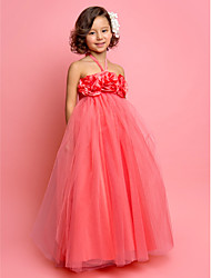 cheap -A-Line / Princess Floor Length Flower Girl Dress - Tulle Sleeveless Halter Neck with Flower by LAN TING BRIDE® / Spring / Summer / Fall / First Communion