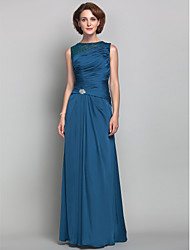 cheap -Sheath / Column Jewel Neck Floor Length Satin Chiffon Mother of the Bride Dress with Beading Crystal Detailing Side Draping by LAN TING