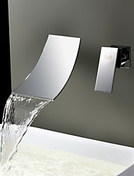 cheap -Contemporary  with  Stainless Steel Single Handle Two Holes  ,  Feature  for Waterfall Widespread Wall Mount