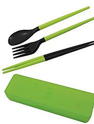 viajar portátil pauzinhos + colher de plástico destacável + conjunto garfo com caso de armazenamento (cor aleatória)