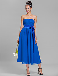 A-Line Strapless Tea Length Chiffon Bridesmaid Dress with Sash / Ribbon Ruching by LAN TING BRIDE®