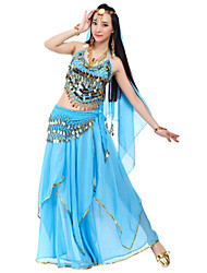 cheap -Belly Dance Outfits Women's Chiffon Beading Coins Sequins Natural
