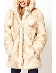 HAODUOYI Imitation Fur Hoodie With Ears Coat