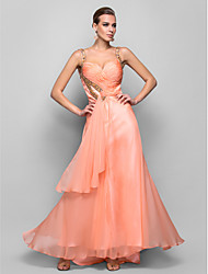 cheap -A-Line / Princess Straps Floor Length Chiffon Open Back Prom / Formal Evening Dress with Beading / Sequin / Crystals by TS Couture®
