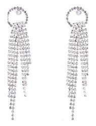 Silver Plated Claw Rhinestone Tassel Long Necklace