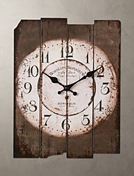 1Pc Wood 30.0*39.0*2.0Cm Country Style Khaki Wall Clock Home Deraction