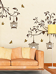 Botanical Tree and Street Light Wall Stickers