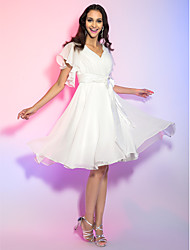 A-Line Princess V-neck Knee Length Chiffon Graduation Holiday Dress with Crystal by TS Couture®