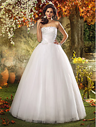 cheap -A-Line / Princess Strapless Floor Length Tulle Made-To-Measure Wedding Dresses with Beading / Flower / Side-Draped by LAN TING BRIDE®