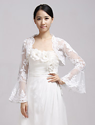 Wedding  Wraps Coats/Jackets Long Sleeve Lace White Wedding / Party/Evening Illusion Open Front