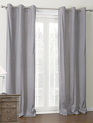 cheap -Rod Pocket Grommet Top Tab Top Double Pleat Two Panels Curtain Modern Solid Living Room 100% Polyester Polyester Material Curtains Drapes