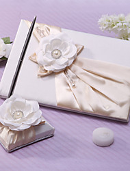 cheap -Guest Book Pen Set Satin Garden ThemeWithSash Faux Pearl Wedding Ceremony