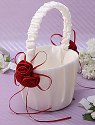 cheap -Chic Flower Basket In Ivory Satin With Rose Petals Flower Girl Basket