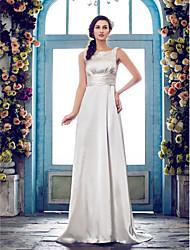 A tubino Strascico a terra Raso Vestito da sposa con Perline Fascia / fiocco in vita Bottoni di LAN TING BRIDE®