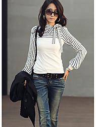 economico -Camicette delle donne Shirts Nuovo Polo Stripes lunga boccata cotone a maniche camicette T-shirt magliette casual collo