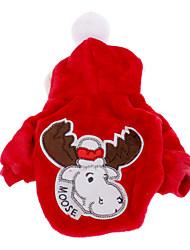 baratos -Cachorro Casacos Camisola com Capuz Roupas para Cães Vermelho Azul Ocasiões Especiais Para animais de estimação Homens Mulheres Natal