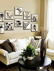 cheap -Framed Canvas Framed Set Floral/Botanical Wall Art, PVC Material With Frame Home Decoration Frame Art Living Room Kids Room