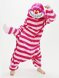 kigurumi Pyjamas New Cosplay® Chat Chesire Cat Collant/Combinaison Fête / Célébration Pyjamas Animale Halloween Rouge Mosaïque polaire