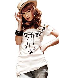 Недорогие -Цветочные печати Fashiongirl хлопка женщин белая рубашка