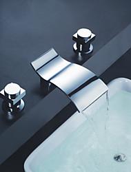 Moderno A 3 fori Cascata with  Valvola in ceramica Tre Due maniglie Tre fori for  Cromo , Lavandino rubinetto del bagno