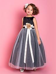 Недорогие -A-line длина пола платье девушки цветка - тюль без рукавов совок с цветком