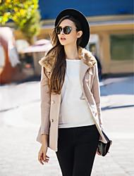 billiga TS®-ytterkläder-Enfärgad Kappa-Chic och modern Dam Modern Stil