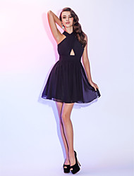cheap -A-Line Fit & Flare Halter Short / Mini Chiffon Cocktail Party Homecoming Holiday Dress with Draping Ruched by TS Couture®
