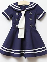 abordables -Vestido Chica de Algodón Manga Corta Verano Blanco Azul Rosa