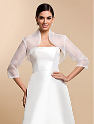 Wedding  Wraps Coats/Jackets 3/4-Length Sleeve Organza White Wedding / Party/Evening / Casual T-shirt Clasp