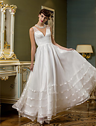 A-Line Plunging Neckline Ankle Length Organza Tulle Wedding Dress with Sash / Ribbon Side-Draped by LAN TING BRIDE®