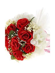 """Bouquets de Noiva Redondo Rosas Buquês Casamento Vermelho Branco Roxo 7.09""""(Aprox.18cm)"""