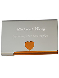 cheap -Personalized Heart Pattern Engraved Business Card Holder (Assorted Colors)