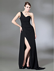 Sheath / Column One Shoulder Sweep / Brush Train Chiffon Formal Evening Military Ball Dress with Side Draping Split Front by TS Couture®