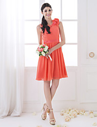 A-Line Scoop Neck Knee Length Chiffon Bridesmaid Dress with Flower(s) Criss Cross Side Draping by LAN TING BRIDE®