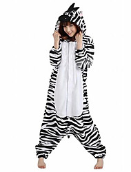 cheap -Kigurumi Pajamas Zebra Onesie Pajamas Costume Polar Fleece Black/White Cosplay For Adults' Animal Sleepwear Cartoon Halloween Festival /
