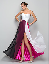 cheap -A-Line Sweetheart Neckline Floor Length Chiffon Color Block Prom / Formal Evening Dress with Criss Cross / Ruched by TS Couture®