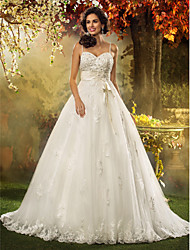 cheap -A-Line Princess Spaghetti Straps Court Train Tulle Custom Wedding Dresses with Bowknot Beading Appliques Sash / Ribbon by LAN TING BRIDE®