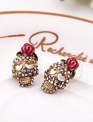 baratos -Brincos Curtos Jóias de Luxo Europeu imitação de diamante Liga Formato de Flor Caveira Rose Jóias Para Diário