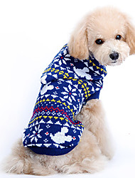 cheap -Dog Sweater Dog Clothes Snowflake Blue Woolen Costume For Pets Men's Women's Cute Christmas