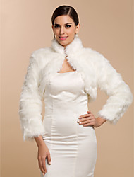 Long Sleeve Faux Fur Bridal Wedding/Special Occasion  Wrap/Evening Jacket Bolero Shrug