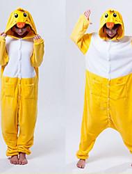 Kigurumi-pyjamas And Onesie-pyjamas Kostume Polarfleece Gul Cosplay Til Voksne Nattøj Med Dyr Tegneserie Halloween Festival / Højtider