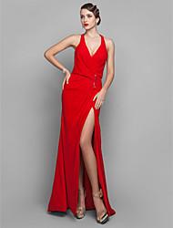 Bainha / coluna v-neck tribunal trem georgette vestido de noite com lateral draping split frente sequins por ts couture®