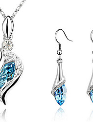 cheap -Women's Crystal S Shaped Jewelry Set - Crystal, Cubic Zirconia, Rhinestone Drop Fashion, Elegant Include Drop Earrings / Pendant Necklace / Earrings Green / Light Blue / Dark Purple For Christmas