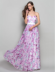 A-Line Princess Strapless Sweetheart Floor Length Chiffon Prom Dress with Beading by TS Couture®