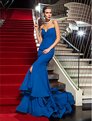 Mermaid / Trumpet Strapless Sweep / Brush Train Chiffon Formal Evening Military Ball Dress with Split Front Ruffles by TS Couture®