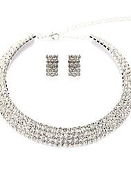 Lega splendido argento dorato e trasparente con strass Donne Wedding Bridal Jewelry Set (tra cui collane, orecchini)