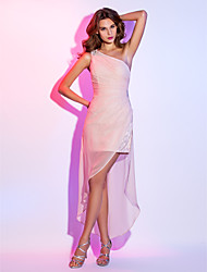 Sheath / Column One Shoulder Short / Mini Velvet Chiffon Cocktail Party Homecoming Holiday Dress with Beading Side Draping by TS Couture®