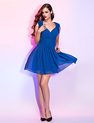 cheap -A-Line Fit & Flare V Neck Short / Mini Chiffon Cocktail Party / Homecoming / Company Party / Holiday Dress with Flower Ruched Criss Cross
